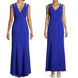 Vince Camuto V Neck Cut Out Shoulder Gown Dress 8
